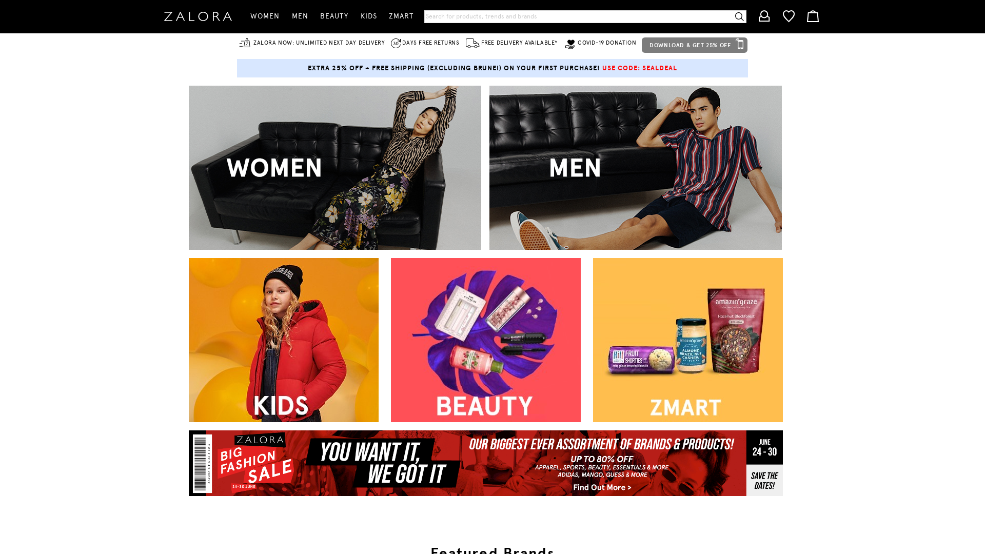 Zalora Hong Kong website