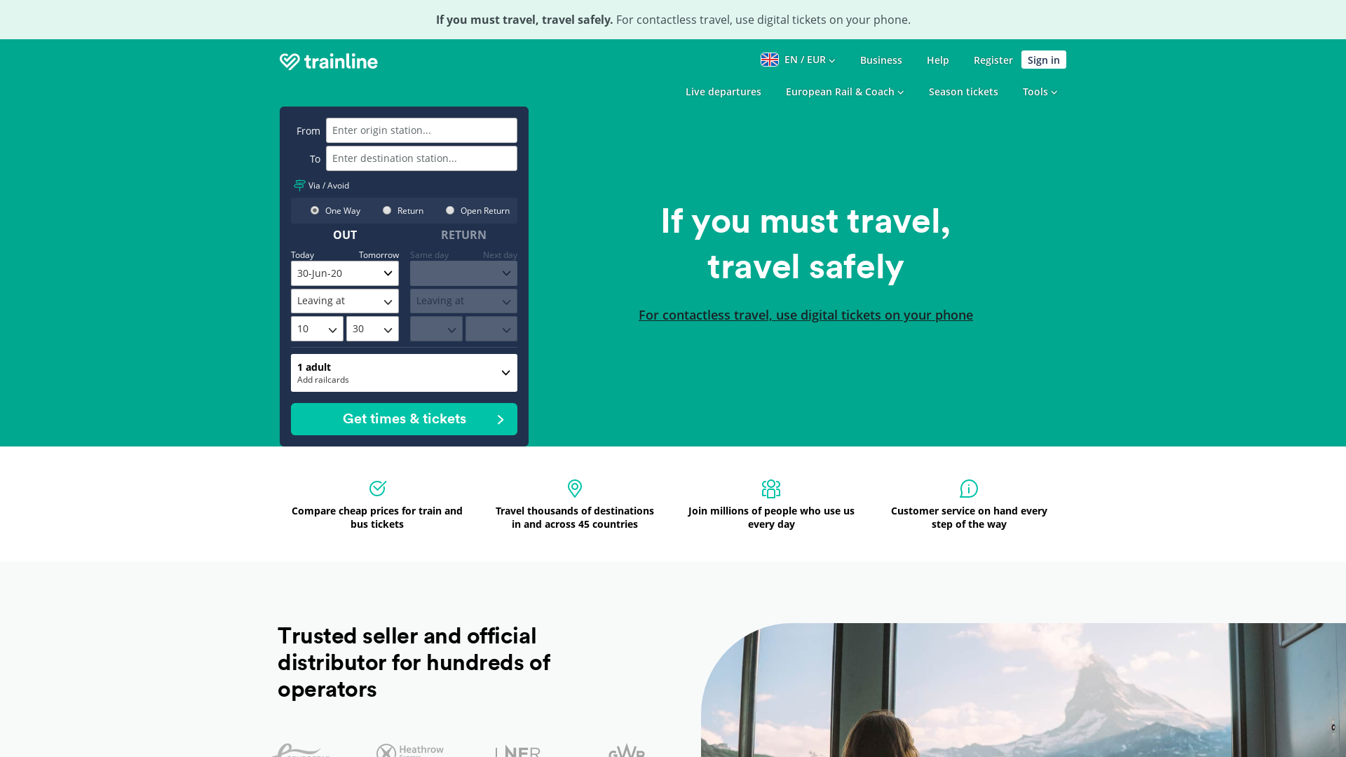 Trainline UK website